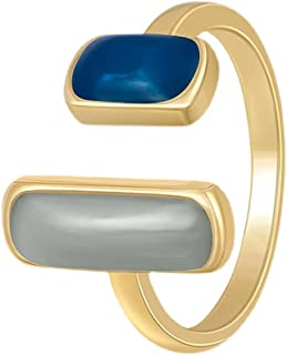 Geometric Colorful Stone Open Statement Rings for Women Girls Minimalist 18K Gold Plated Expendable Stacking Promise Etern...