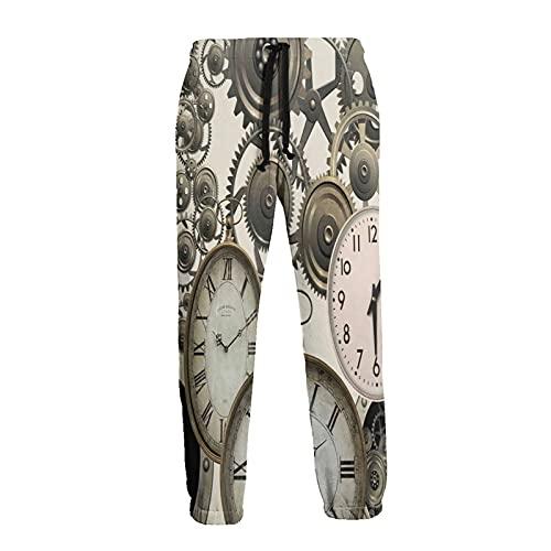 Olverz Pantalones deportivos para hombre vintage Steampunk relojes transpirables pantalones de gimnasio...