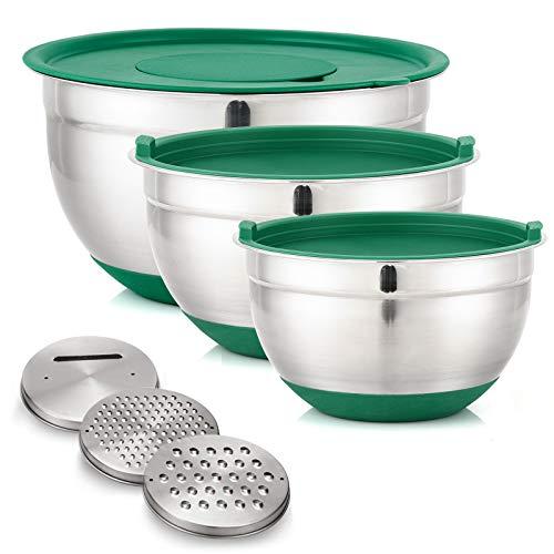 Dailyart Rührschüsseln 3er Set Salatschüssel Edelstahl Schüsselset mit Luftdichten Deckeln, Rutschfesten Böden und 3 Reibenaufsätzen Schüsseln Stapelbar, 4.8L/2.8L/1.5 L