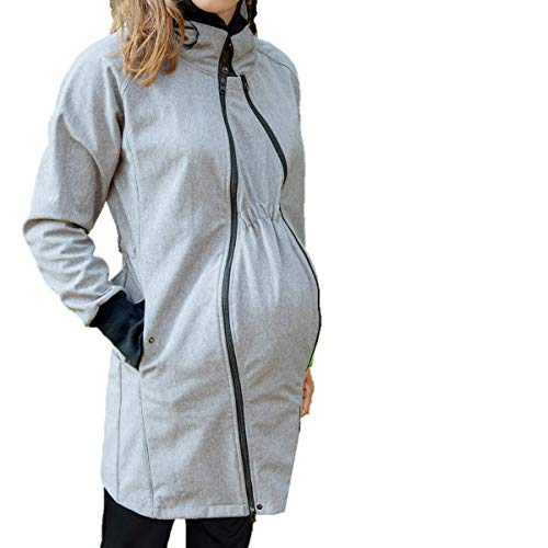 manduca by MaM Tragemantel > Softshell Light Coat HeatherGrey < Tragejacke (Langjacke/Kurzmantel), Umstandsmantel, 2x Babyeinsatz, komplett gefüttert (Fleece), auch für Rückentragen (grau, L)