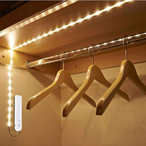 DC 5V PIR Sensor de movimiento LED Luz de gabinete 1m 2m 3m Cinta de tira debajo de la cama lámpara para armario escalera pasillo batería Power (blanco, 10 pies)