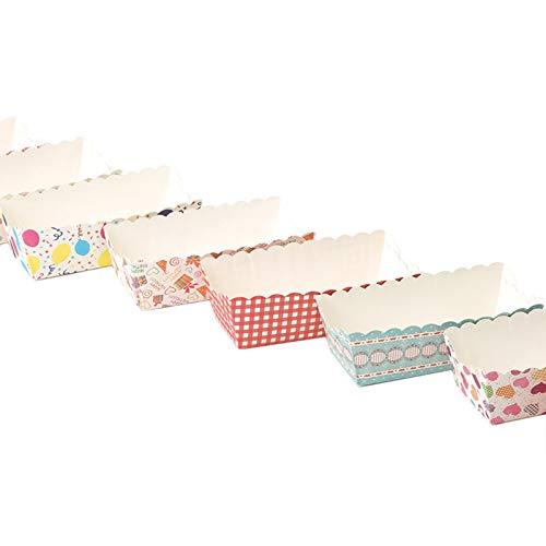 Mini moldes desechables Bandeja de horno de papel rectangular Mini plato de papel Molde de pastel de papel desechable con buena apariencia y apariencia fuerte Colores aleatorios, juego de 100 piezas