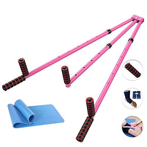 CAJOLG Beinspreizer aus Stahl Schlagpolster Beinspreizer Metall Bein trainingsgerät,Pink,E