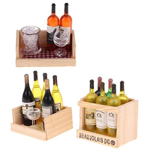 Sharplace Botellas de Jugo de Vino en Miniatura Taza Estante de Madera 1/12 Casa de Muñecas Bebida Modelo 3 Sets