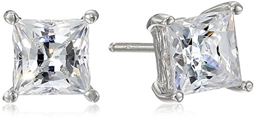 Platinum Plated Sterling Silver Stud Earrings set with Princess Brilliant Cut Swarovski Zirconia 2 cttw