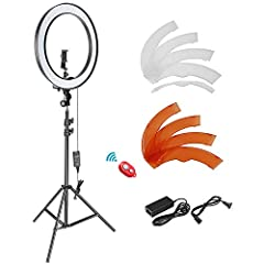 KIT INCLUDES: (1)LED Ring Light, (1)Light Stand, (4)White Filter, (4)Orange Filter, (1)Hot Shoe Adapter, (1)Power Adapter, (1)US Plug, (1)Rotatable Smart Phone Holder; Widely applied to outdoor photo light, filling light indoors, portrait, fashion, l...