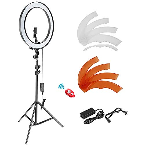 Neewer 18-inch SMD LED Ring Light Dimmable Lighting Kit with 78.7-inch Light Stand, Filter and Hot...