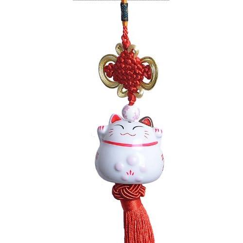 Maneki neko - Feng Shui Pendentif avec chat japonais porcelaine - Porte-Bonheur Traditionnel (Rouge)