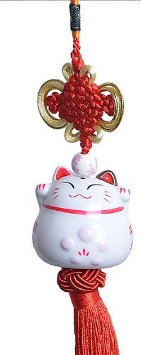 Goodwei Maneki Neko - Feng Shui Pendiente Afortunado japonés del Gato