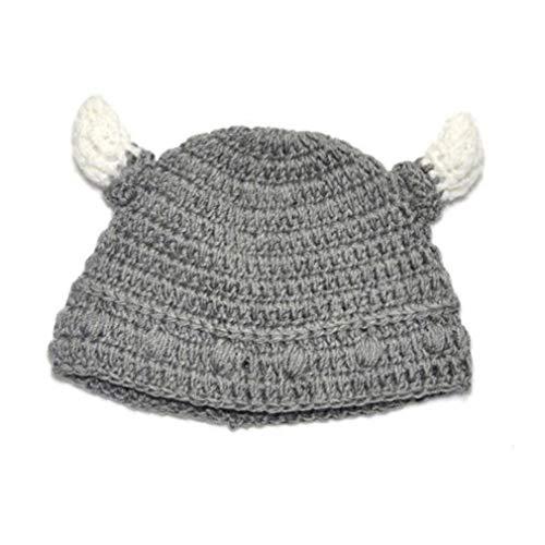AMOYER 1065/5000 1 Gorro de Cuerno de Toro para bebé, Gorro de Lana Suave para bebé, Gorro Vikingo Hecho a Mano para Actividades al Aire Libre (Gris)