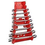 Fishlor Schraubenschlüsselhalter, 9-Fach, roter Kunststoff-Schraubenschlüsselhalter, Standard-Organizerhalter, Aufbewahrungswerkzeug, Schraubenschlüsselhalter