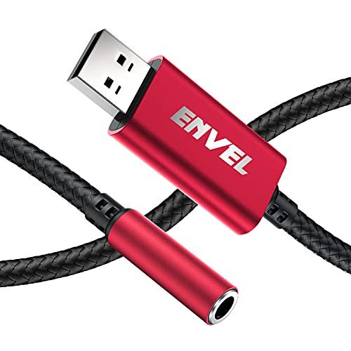 Adattatore Per Cuffie da 3,5 mm Femmina a USB maschio,Scheda Audio Stereo esterna con chip incorporato,adattatore da USB a 4 poli per cuffie PS5 PS4 laptop PC e altro (rosso)