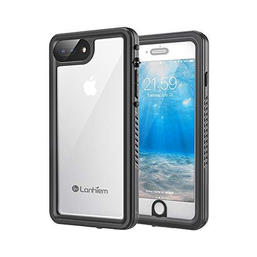 Lanhiem Funda Impermeable iPhone 7 Plus iPhone 8 Plus, Carcasa Sumergible Resistente Al Agua IP68 [Protección de 360 Grados], Carcasa con Protector de Pantalla Incorporado, Negro