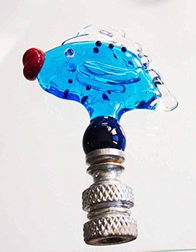 Finials for Lamp Shades - Handmade Glass Fish Lamp Finials -Aqua Blue Fish Finial with Big Red Glass Lips and Brass Hardware Painted Silver.