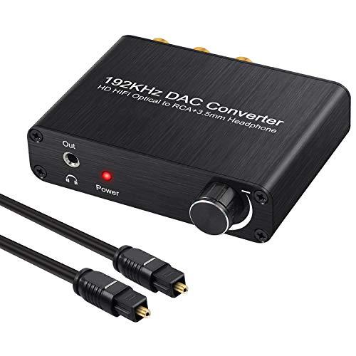 Neoteck 192kHz DAC Konverter Digitaler optischer koaxialer Toslink zu analogem Stereo L/R Cinch 3,5-mm-Klinke Audio Decoder mit Lautstärkeregler Unterstützt Dolby AC-3 / DTS 5.1 CH