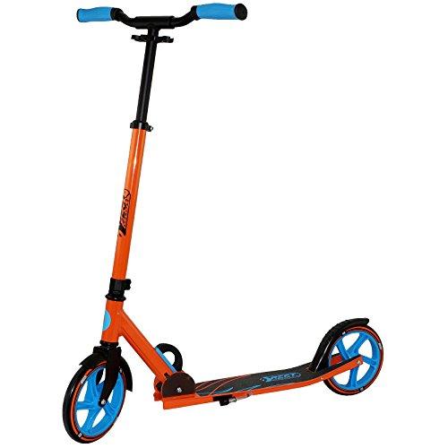 Best Sporting Scooter 205er Rolle, City-Roller aus Aluminium mit ergonomischen Griffen und gebogener Lenkstange, Tretroller in orange/blau