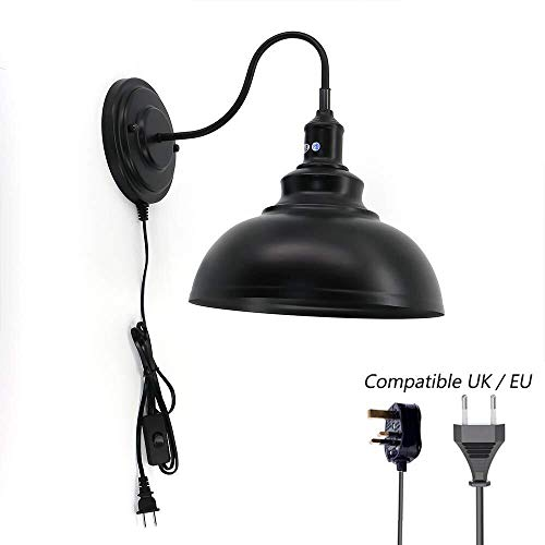 Wandlamp, Indoor Industrial wandlampen, met Plug In snoer en Switch, Loft Living Room Slaapkamer Gang Wand Lamp, E27