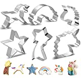 Unicorn Cookie Cutter Set, XCOZU 6 PCS Stainless Steel Christmas Cookie Cutters Shapes Biscuit Cutters, Unicorn Head Star Rainbow Pastry Fondant Sandwich Baking Cutters for Kids