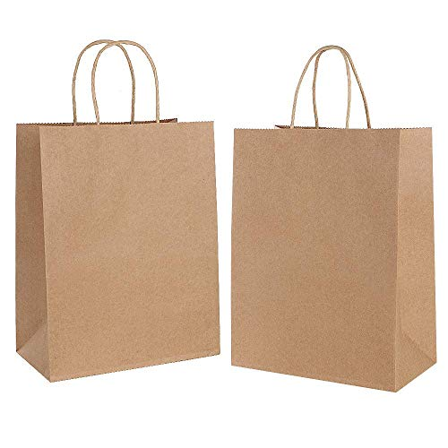Gaoyong 30 PCS Bolsas de Papel con Asas,Bolsas de Papel Compra,Bolsas Papel Regalo para la Tienda de Comestibles para Hornear Compras Minoristas Boutique (Espesar 130 g / m2)