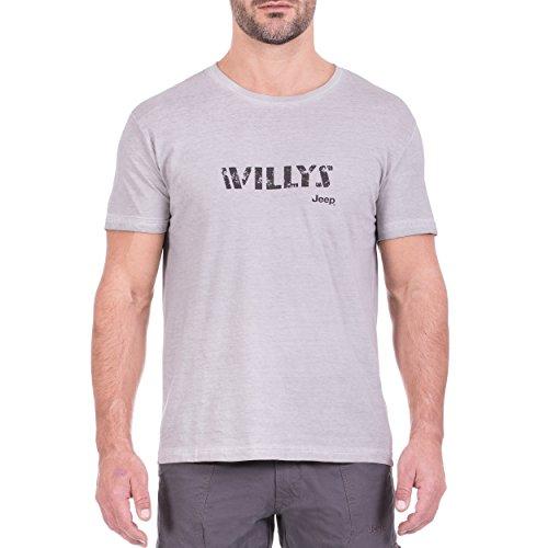 Jeep T- Shirt Vintage-Optik Willys J8S Homme, Gris Clair/Gris foncé, m