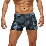 Arcweg Costume da Bagno Uomo Boxer con Pad Rimovibile e Coulisse Pantaloncini Calzoncini da Bagno Elastico a Vita Bassa Boxershorts Motivo Geometrico XXXL