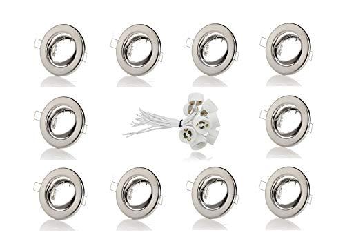 sweet-led 10 x Einbaurahmen, Einbaustrahler, für Halogen und LED, Einbaustrahler GU10, Schwenkbar, Rund, Chrom gebürstet, inkl. GU10 Fassung
