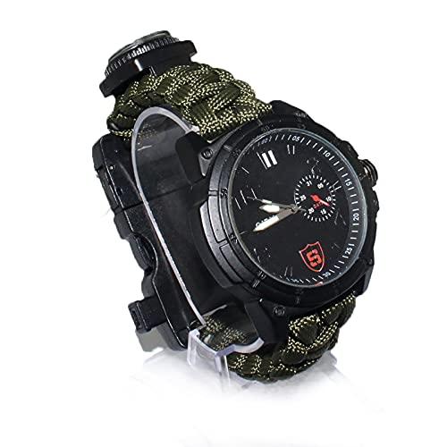 WTYU Reloj de Emergencia al Aire Libre Muestra multifunción, Supervivencia y Reloj de Camping Guía de cinturón de Cabina de Paraguas Hecha a Mano - Verde, para Amantes de
