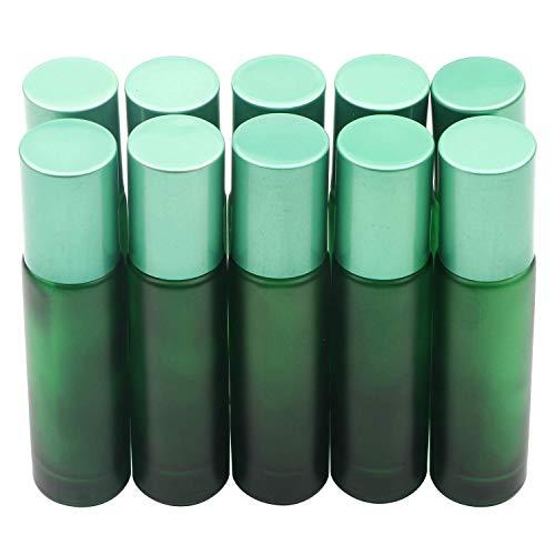 10 Botellas de 10 ml de Color Esmerilado Bola de Metal para aceites Esenciales, aromaterapia, perfumes (Verde)