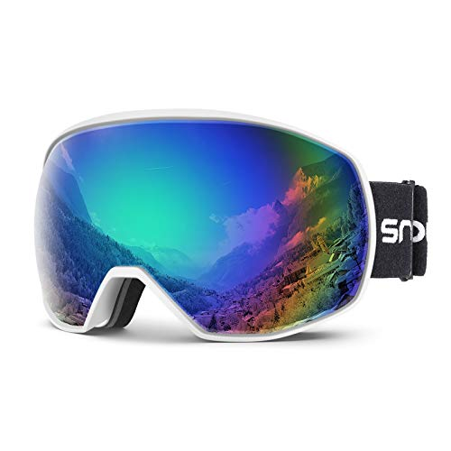 Snowledge Ski Snow Goggles for Men Women, OTG Snowboard Goggles with UV Protection, Anti-Fog Dual Lens Skiing Goggles for Skiing Snowboarding