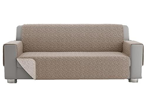 Copridivano 2 posti, telo copridivano 3 posti, copri divano universale trapuntato reversibile, fodera protettiva per divano double face (2 posti, Panna)