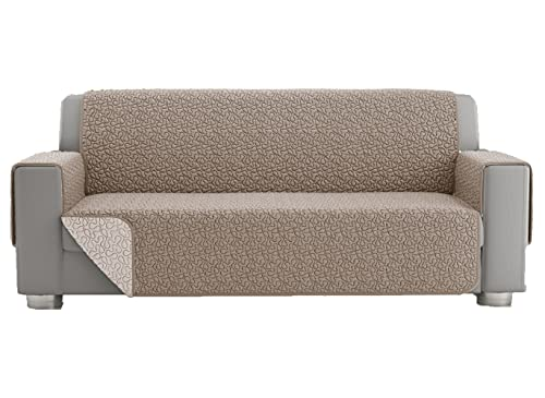 Funda para sofá de 2 plazas, funda para sofá de 3 plazas, universal, acolchada, reversible, funda protectora para sofá de doble cara (3 plazas, color crema)