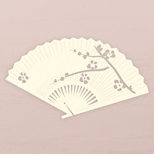 Laser Expressions Cherry Blossom Fan Die Cut Card - Ivory