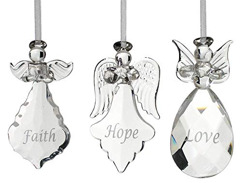 Faith Hope Love Angel Ornaments - Set of 3 Crystal Hanging Angels - Faith Hope Love Written on Each Ornament in Silver - Angel Christmas Tree Decorations