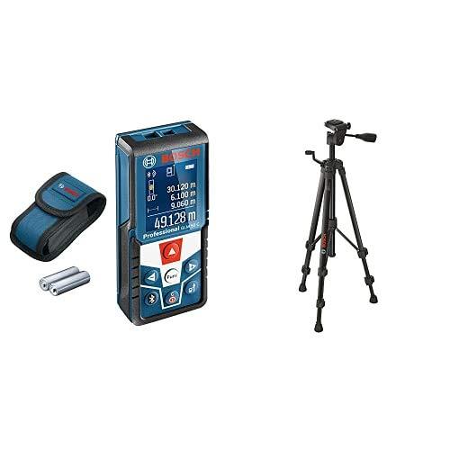 Bosch Professional Distanziometro Laser GLM 50 C, Trasferimento dati Bluetooth, Sensore di Inclinazione a 360° + BT 150 Treppiede da Perito, 55-157 cm, 1.5 kg