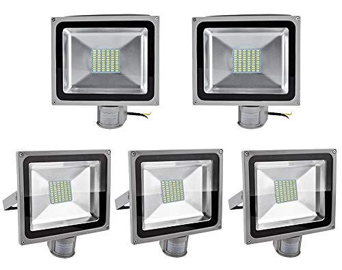 Greenmigo 5x 20W 30W 50W 80W SMD Fluter mit Bewegungsmelder LED Strahler Kaltweiß kaltweiss Licht IP65 Wasserdicht LED Lampe Wandleuchter Flulicht Flutbeleuchtung LED Gartenlampe Außenstahler