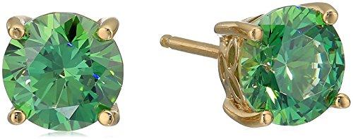 Yellow Gold-Plated Sterling Silver Swarovski Zirconia Fancy Green Stud Earrings