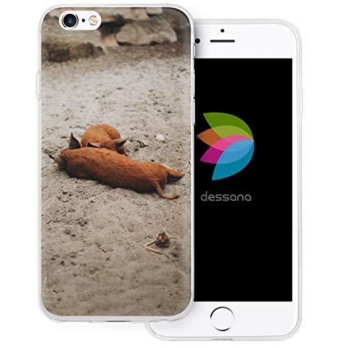 dessana - Cover protettiva per Apple iPhone 6/6S, motivo: maialino trasparente