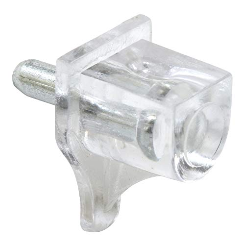 Slide-Co 242159 Small Shelf Support Peg, 1/8 in. Metal Stem, Clear Plastic Support (Pack of 8)