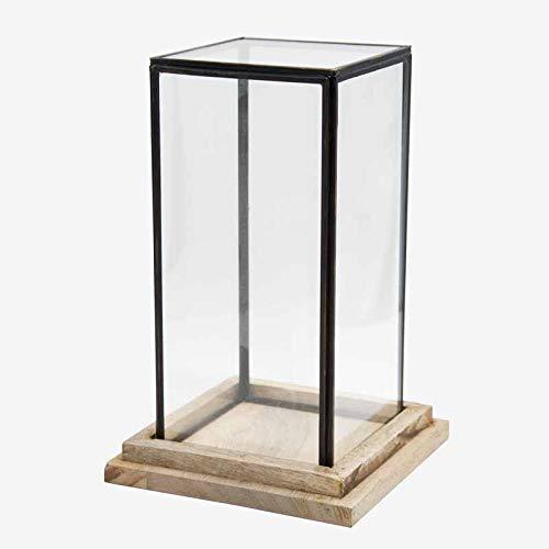 Better & Best 1363264 Urna cristal cuadrada base madera y filo óxido de madera y cristal, cristal