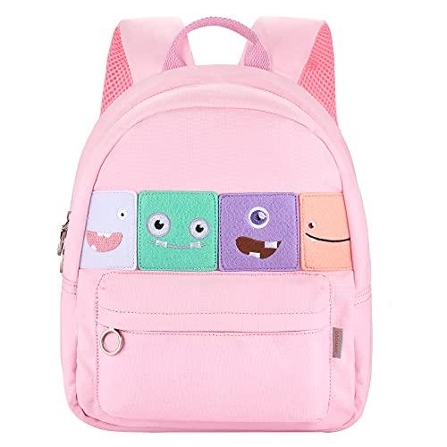GAGAKU Mochila infantil de algodón, para niños de 3 a 6 años, para guardería, escolar, en color azul marino, con dibujos de parches, color rosa