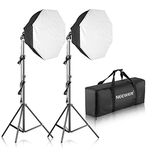 Neewer 700W Octágono Softbox Continua Iluminación Kit para Cámara Foto Video Fotografía, Incluye: (2) 80x80 Centímetros Softbox, (2) 85W 5500K Bombilla, (2) Soporte de Luces, (1) Bolsa de Transporte