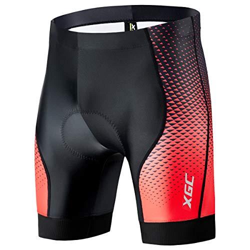XGC Herren Kurze Radlerhose und Radunterhose Radsportshorts Fahrradhose für Männer elastische atmungsaktive 4D Schwamm Sitzpolster mit Einer hohen Dichte (M, Black_Red)