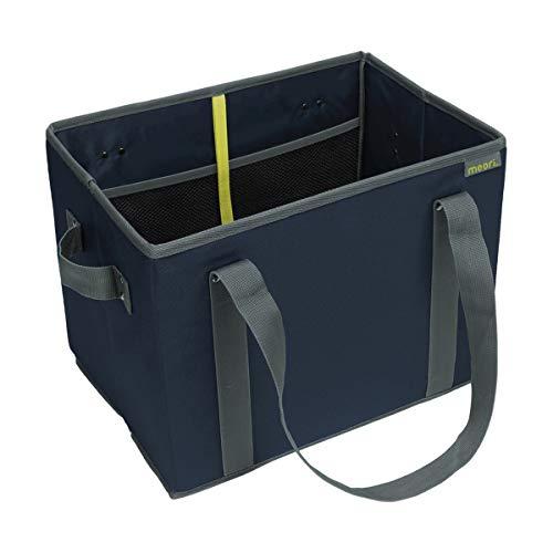 Faltbarer Einkaufskorb Marine Blue/Uni 37x26x28cm stabil abwischbar Shopping Urlaub Ausflug Strand umweltfreundlich Flaschenträger Autobox