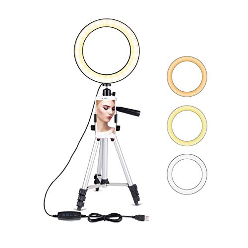 5.7' Selfie Ring Light with Adjustable Tripod Stand, JaxTec 3 Modes 11 Brightness Levels with LED Ring Light with Phone Holder for Vlogs, Live Stream, Phone,YouTube,Self-Portrait Shooting