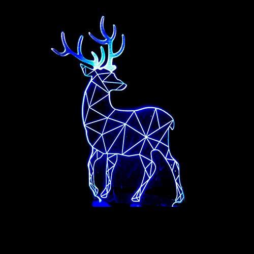 WZYMNYD 3D Led Vision Kreative Milu Deer Modellierung Usb Schreibtischlampe 7 Farbwechsel Weihnachten Nachtlicht Wohnkultur Leuchte Geschenke