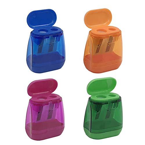 4PCS Manual Pencil SharpenerDouble Holes Colored Prism Pencil Sharpeners with lid for kidsSuitable for SchoolOfficehome