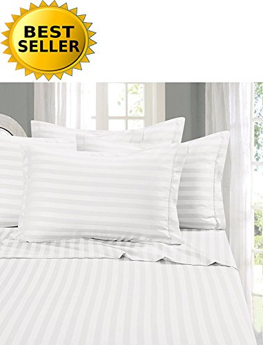 Elegant Comfort #1 Bed Sheet Set on Amazon - Super Silky Soft - 1500 Thread Count Egyptian Quality Luxurious Wrinkle, Fade, Stain Resistant 6-Piece Stripe Bed Sheet Set, California King White