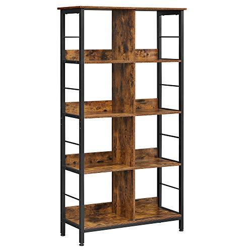 VASAGLE Librería con 8 Compartimentos, Estantería para Libros, Armario Abierto, para Oficina, salón, Dormitorio, 80 x 33 x 149 cm, Estilo Industrial, Marrón Rústico y Negro LLS105B01