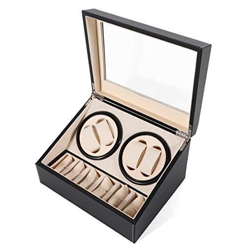 Fetcoi Caja expositora automática para relojes de 4 + 6 relojes con motor silencioso, funciona con pilas o fuente de alimentación para relojes automáticos.