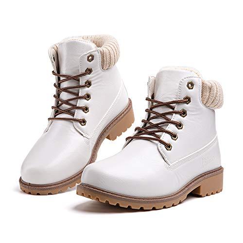 Botines Mujer Invierno Botas de Nieve Calentar Forro Forrado de Piel Cremallera Plataforma Antideslizante Cordones Calzado Aire Libre Deportes Caminar 2-Blanco EU40